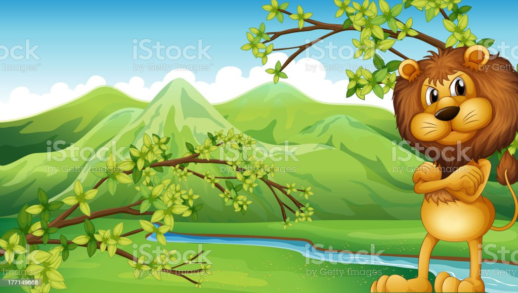 Angry lion in the riverbank royalty-free stock vector art