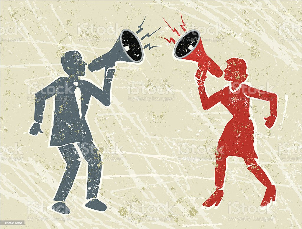 Angry Man and Woman Shouting at Each Other Through Megaphones vector art illustration
