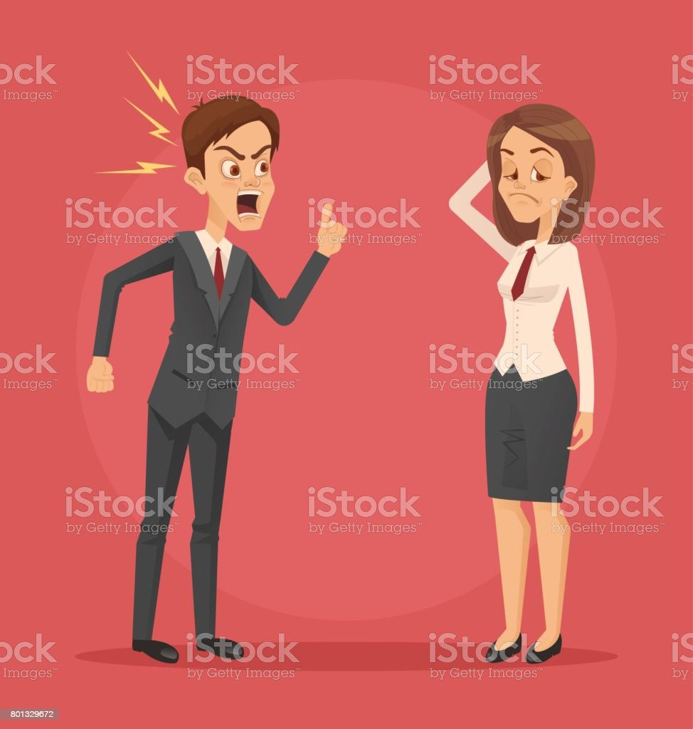 Angry man boss character yelling at employee woman office worker vector art illustration