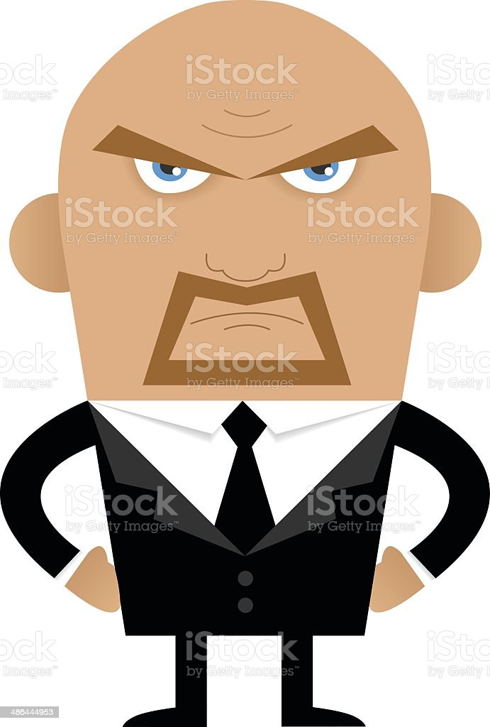 Angry man in suit vector art illustration