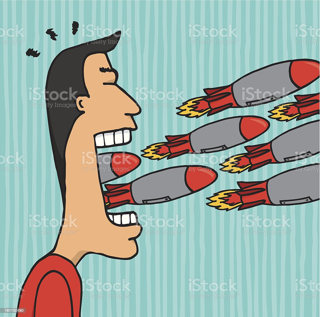 Angry man ranting and insulting rockets vector art illustration