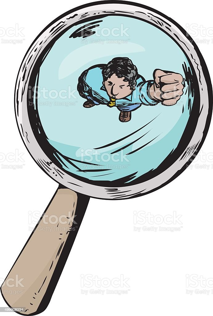 Angry Man Under Magnifying Glass vector art illustration