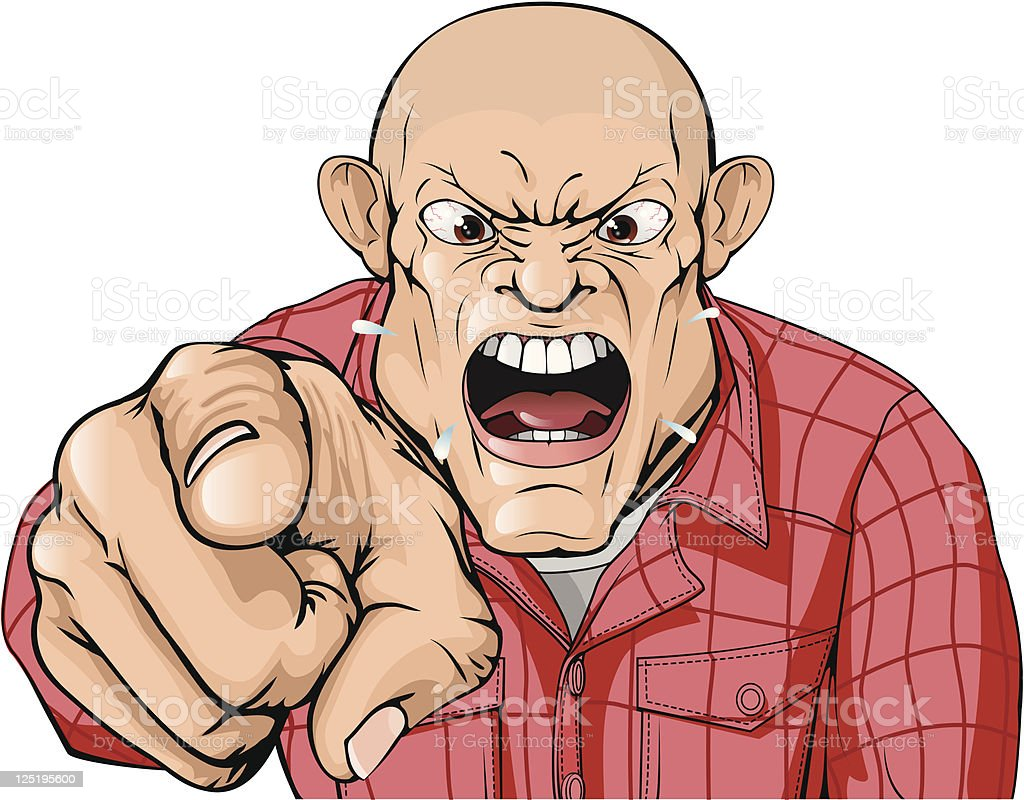 Angry man with shaved head shouting and pointing royalty-free stock vector art