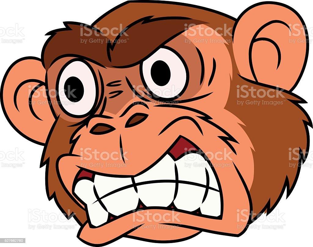 Angry monkey head 2 vector art illustration