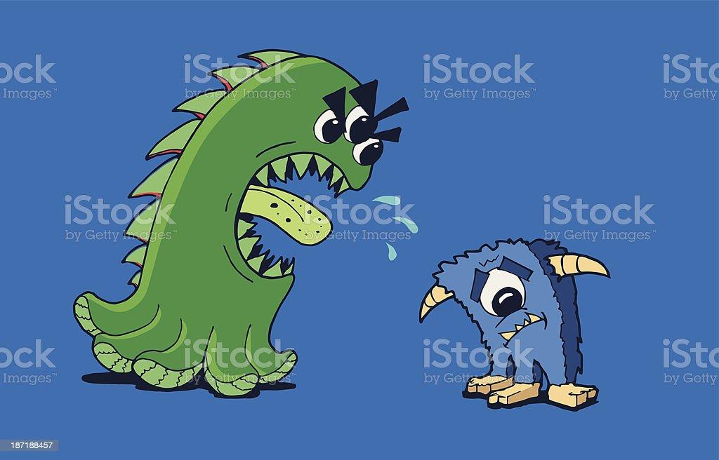 Angry monstro vetor e ilustração royalty-free royalty-free