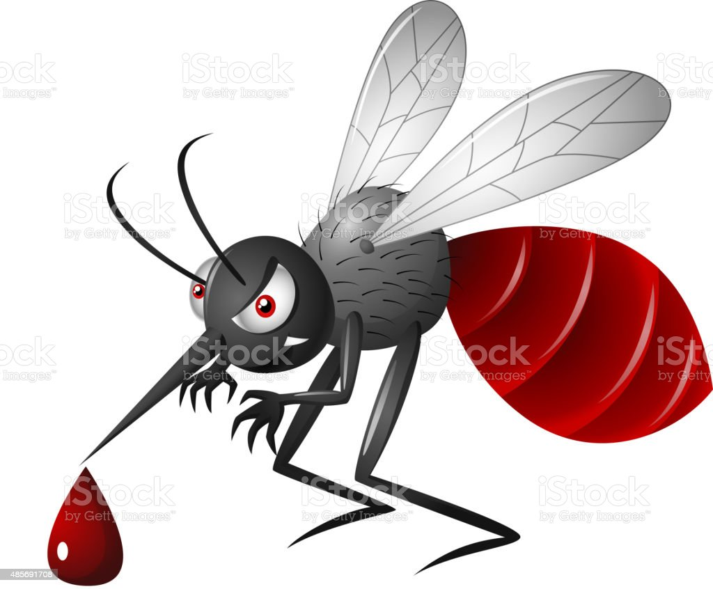 Angry mosquito cartoon  on a white background vector art illustration