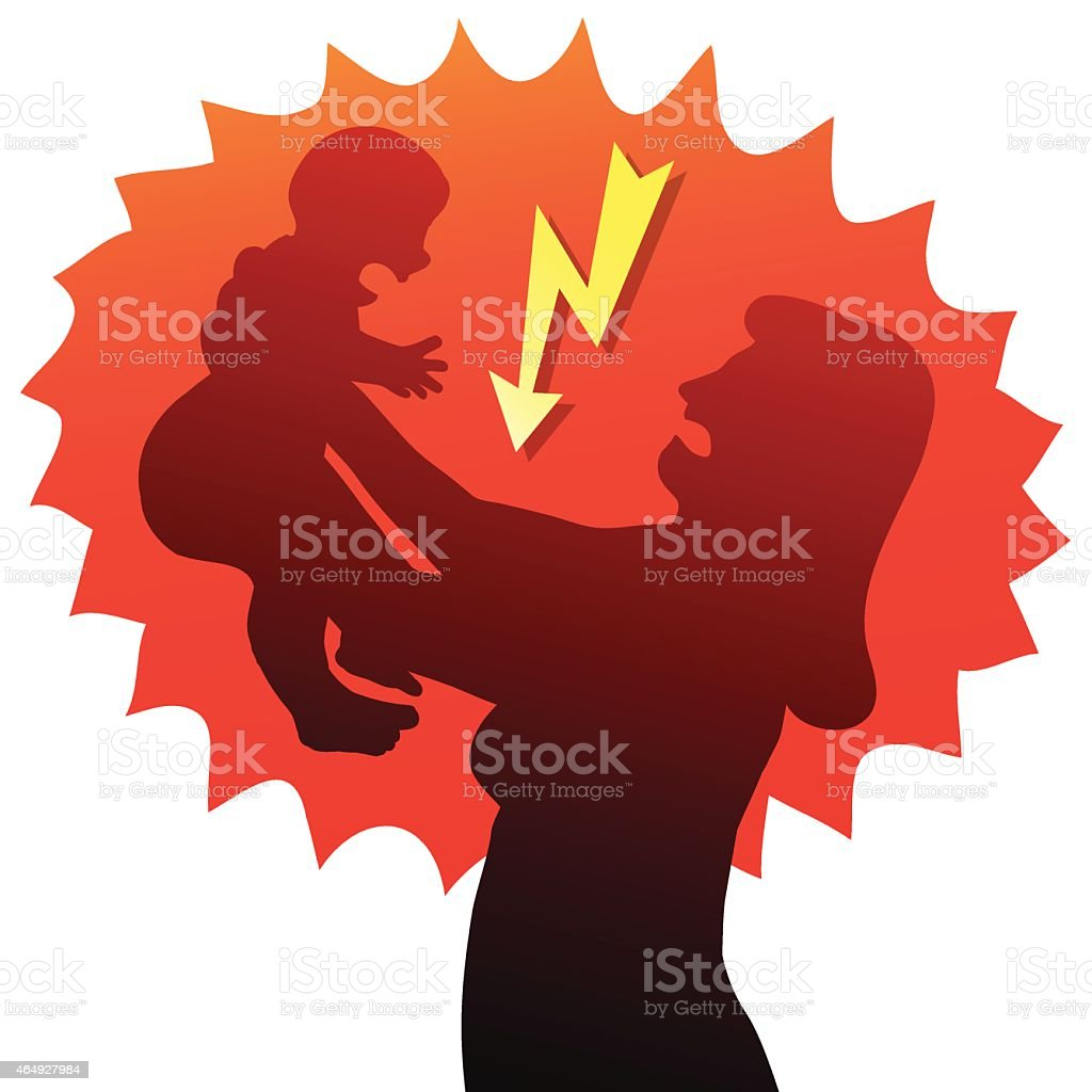 Angry Mother Baby vector art illustration