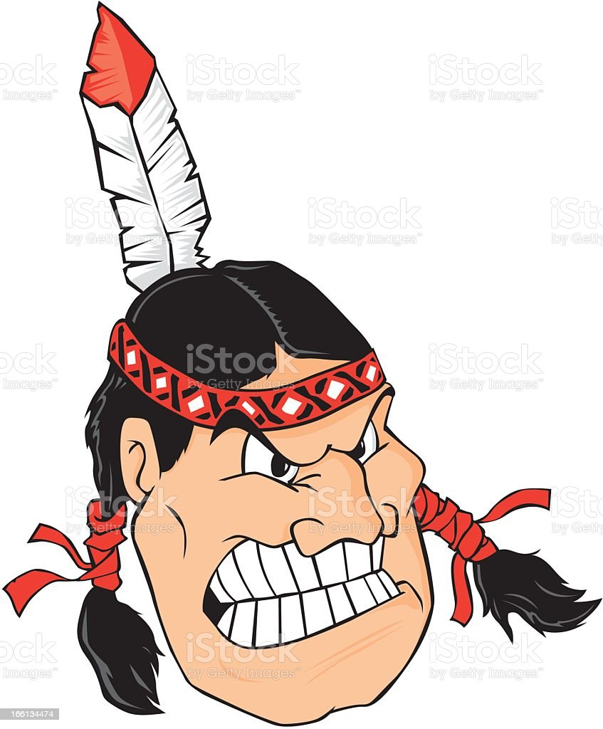 Angry Native American royalty-free stock vector art