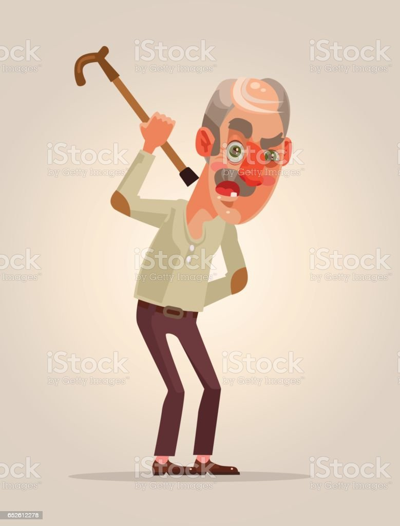 Angry old man character vector art illustration