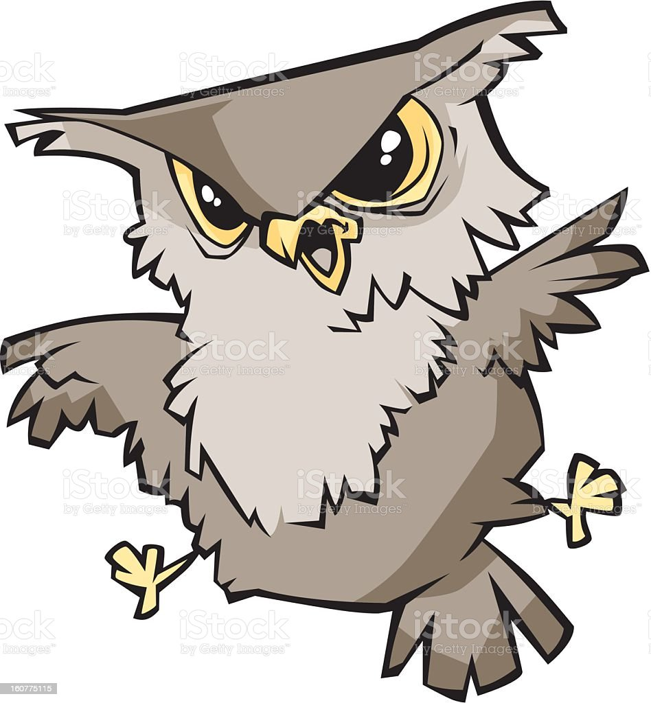 Angry Owl royalty-free stock vector art