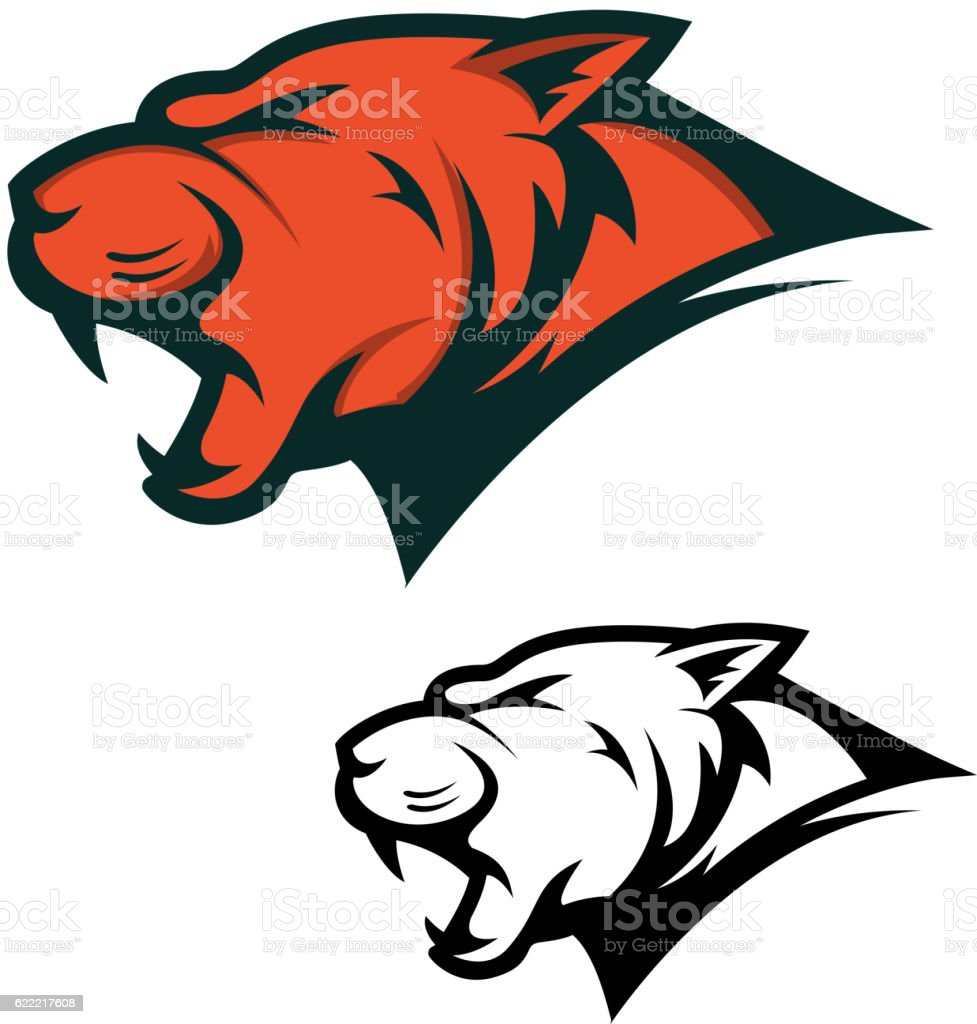 Angry Panther head with opened mouth. Sport team mascot. Design...