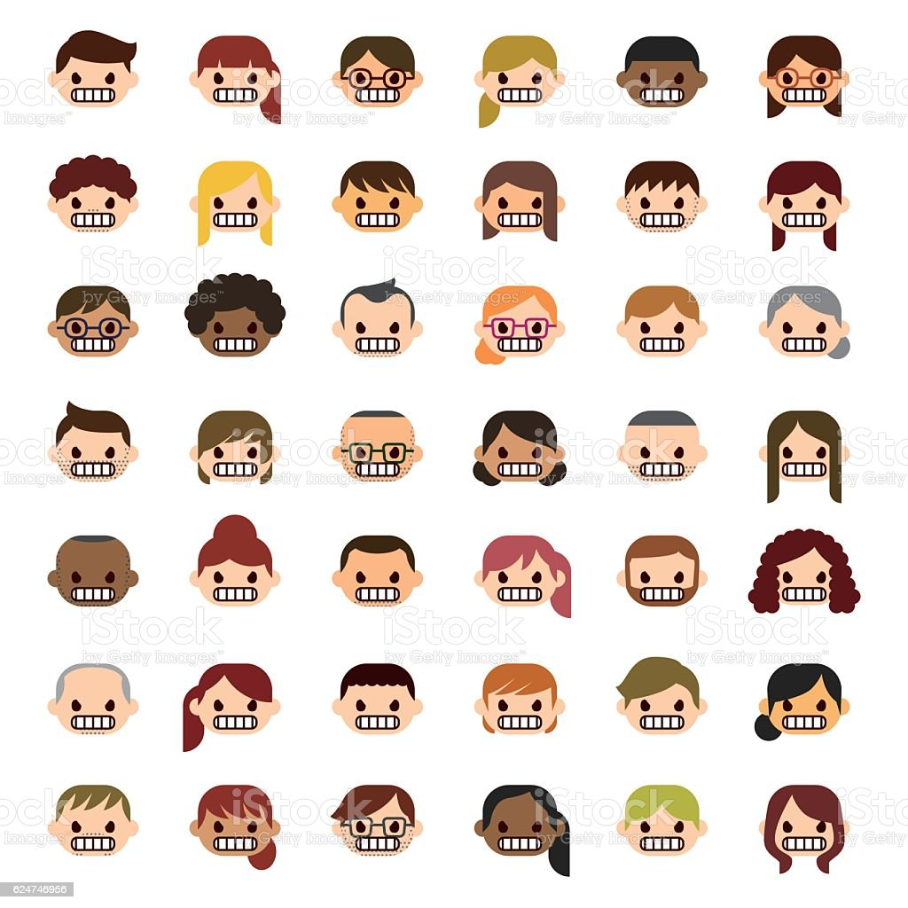 Angry people icons vector art illustration