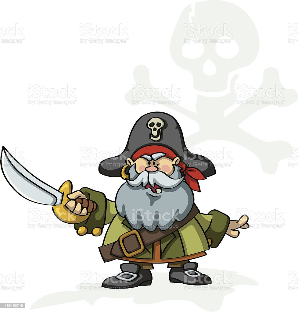 Angry Pirate Captain royalty-free stock vector art