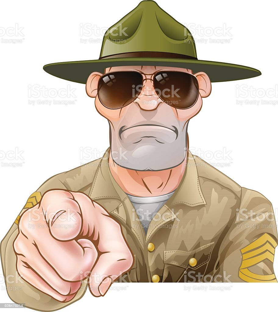 Angry Pointing Drill Sergeant vector art illustration