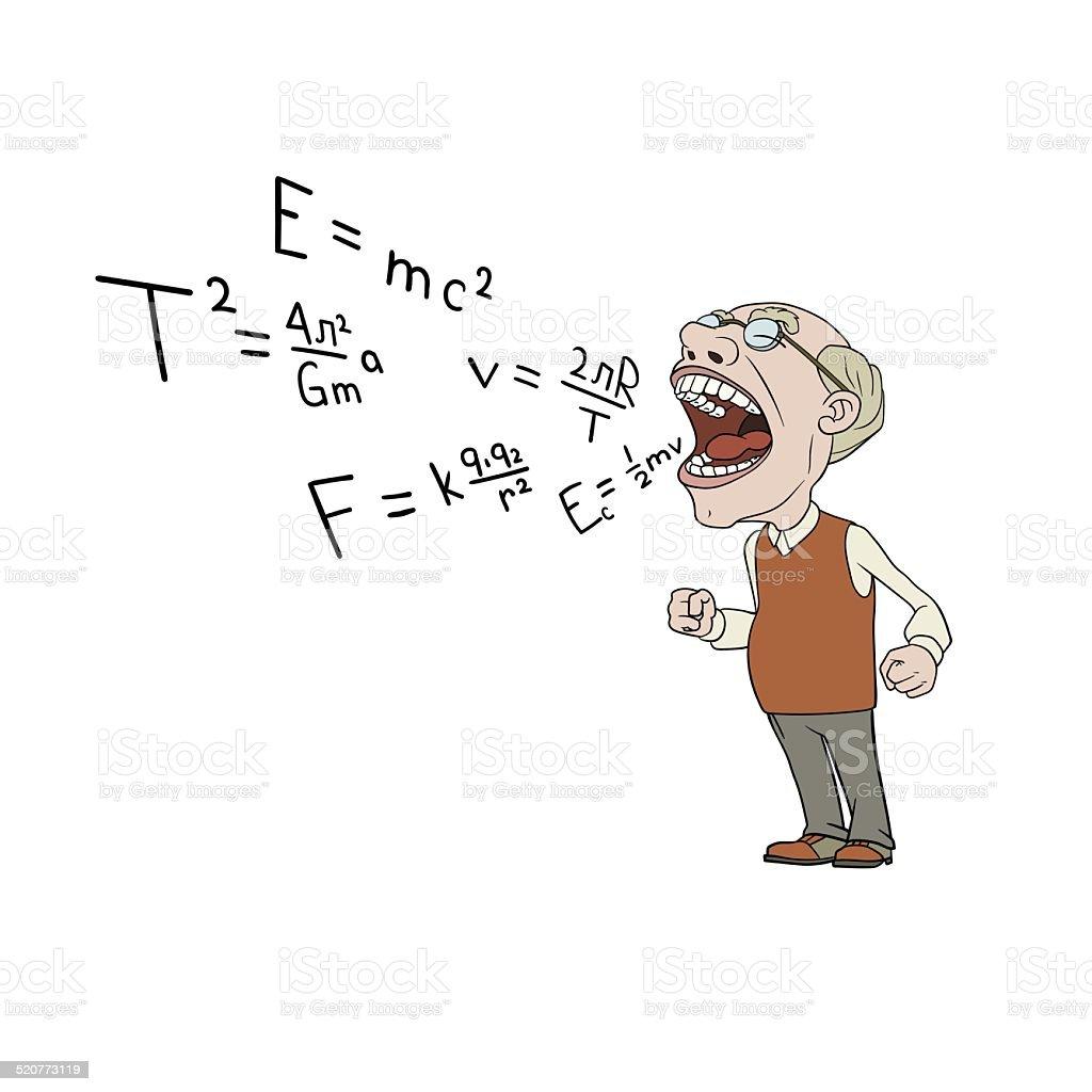 angry professor vector art illustration