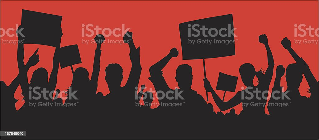 Angry protesters vector art illustration