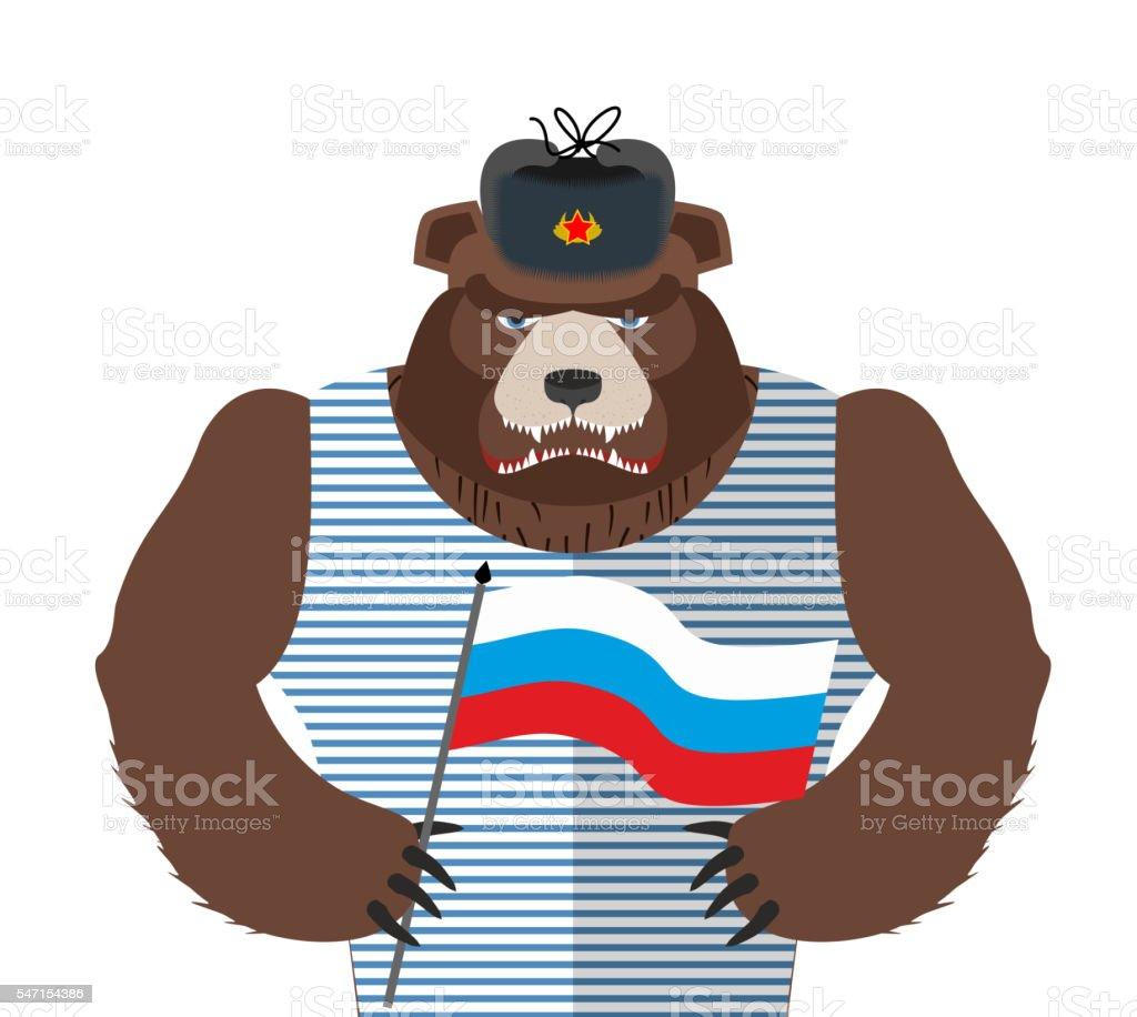 Angry Russian bear holding Russian flag. Beast patriot vector art illustration