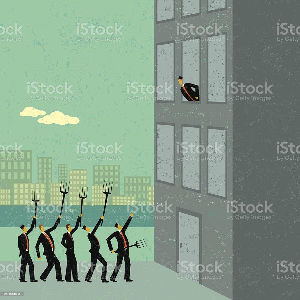 Angry shareholders vector art illustration