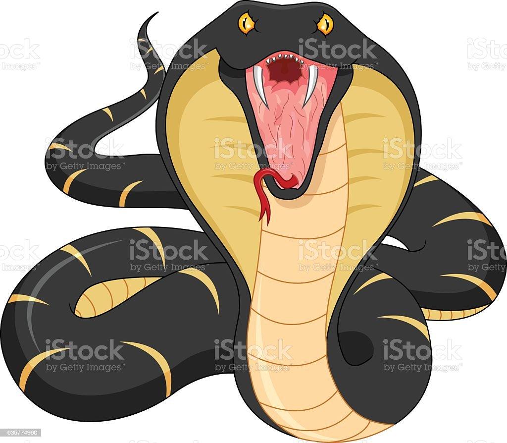 angry snake cartoon vector art illustration
