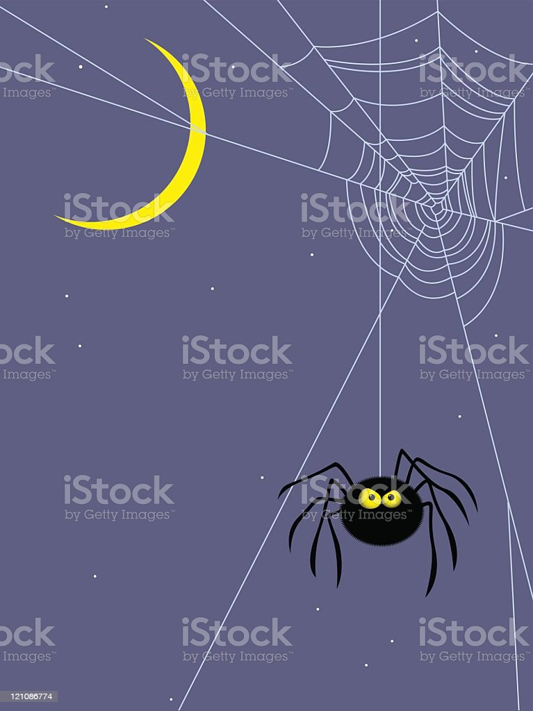 Angry spider hanging about at night vector art illustration