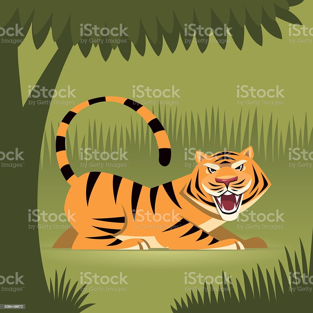 angry tiger roaring vector art illustration