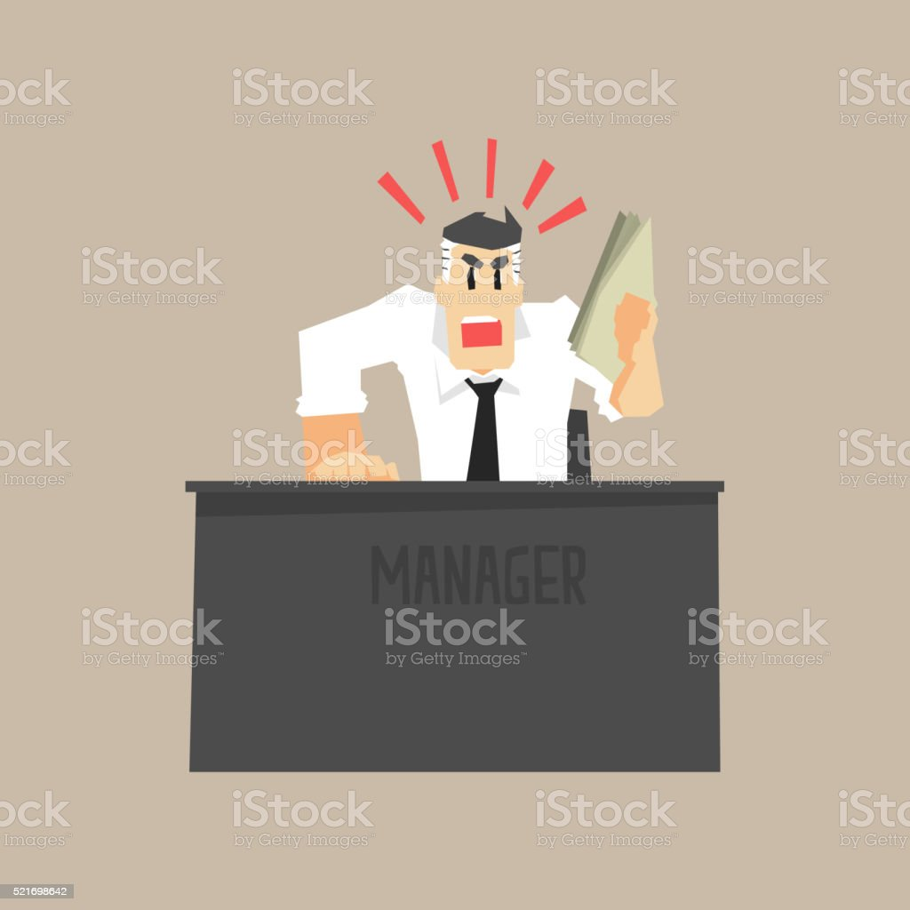 Angry Top Manager vector art illustration