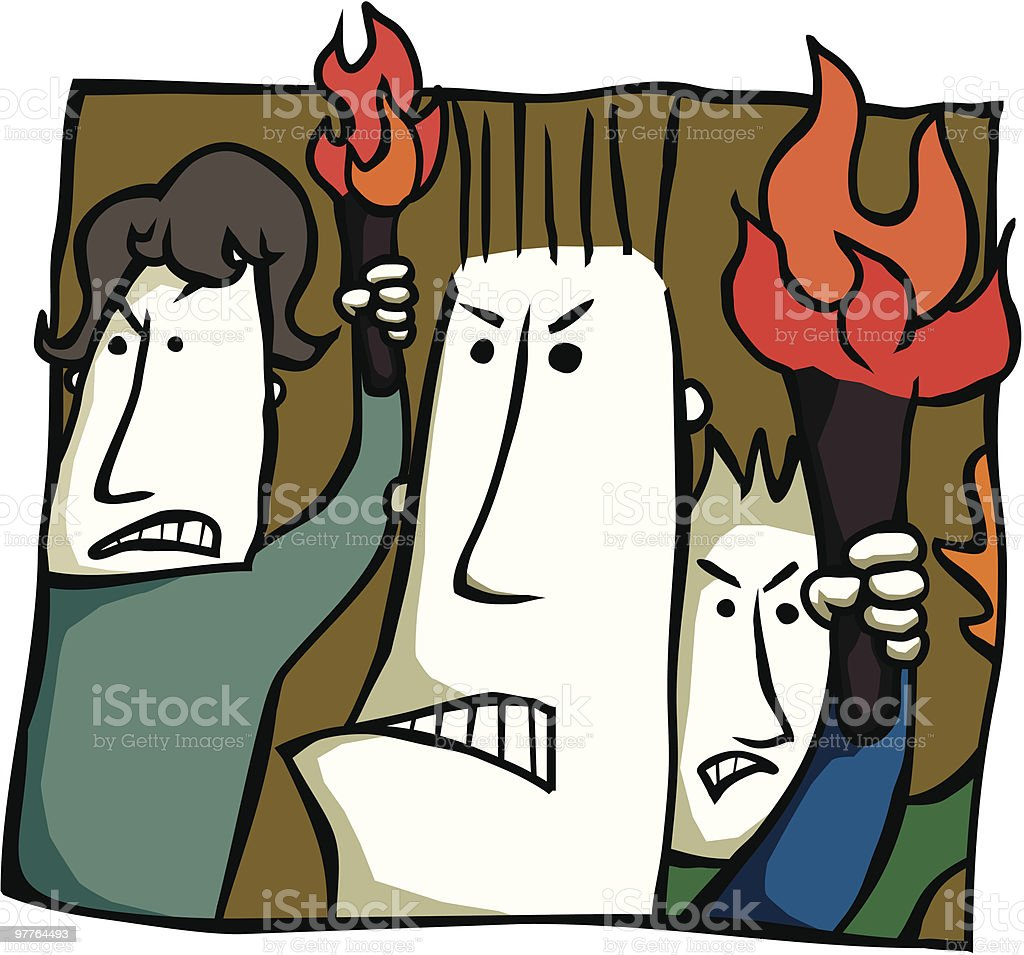 Angry Torch Bearers royalty-free stock vector art