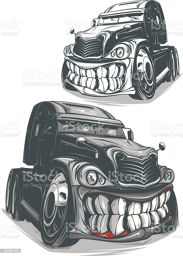 Angry Truck vector art illustration