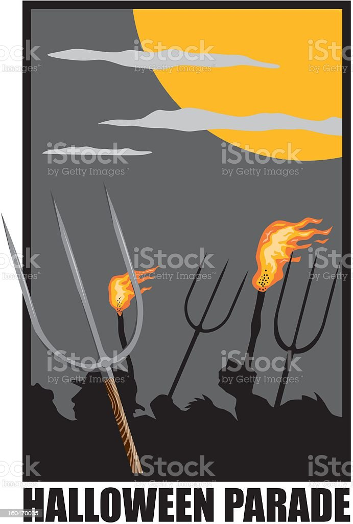 Angry Villagers vector art illustration