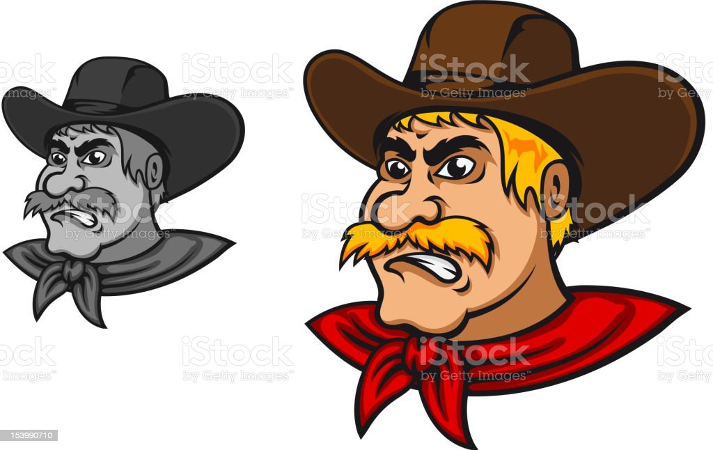 Angry western cowboy royalty-free stock vector art