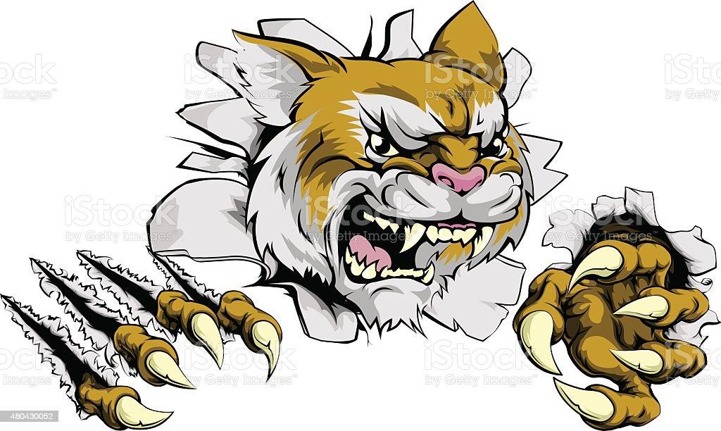 Angry wildcat sports mascot vector art illustration