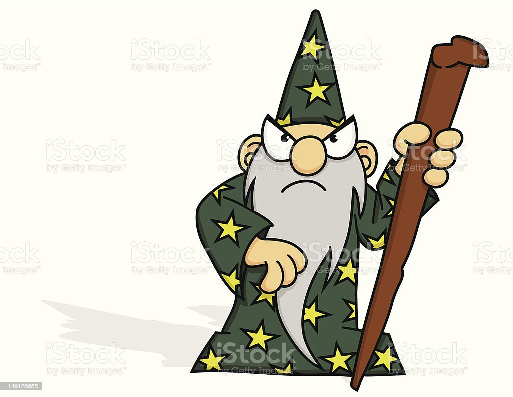 Angry Wizard vector art illustration