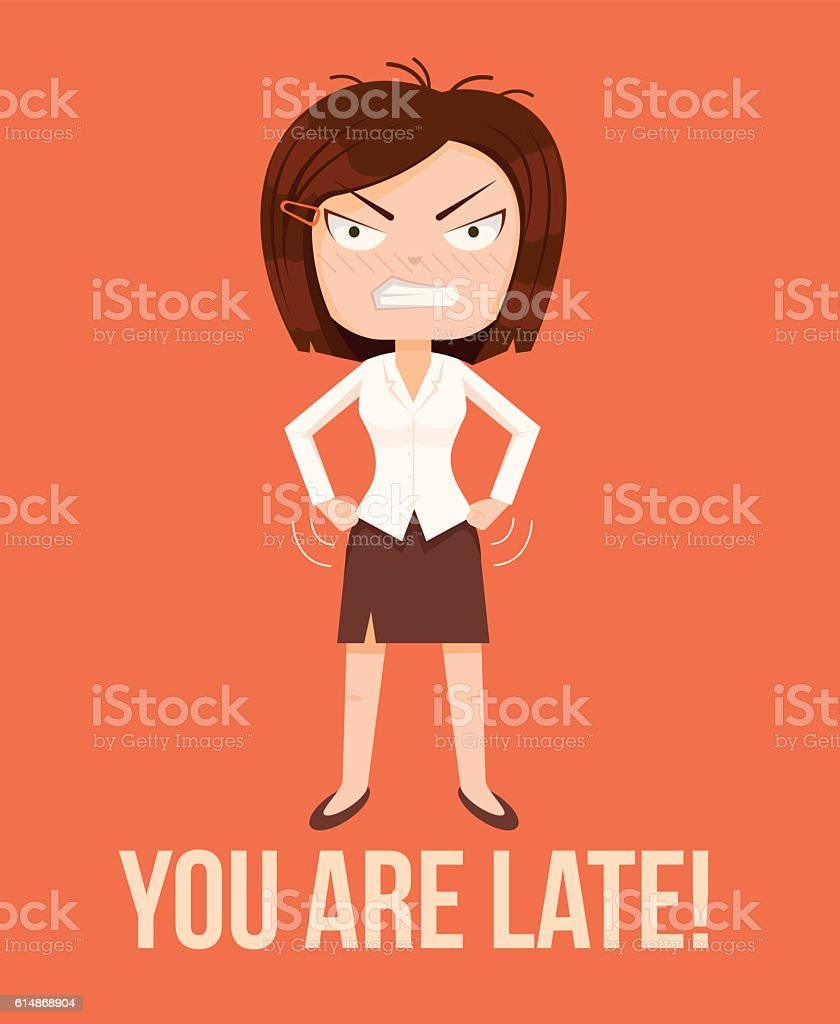 Angry woman boss character. Lateness concept vector art illustration