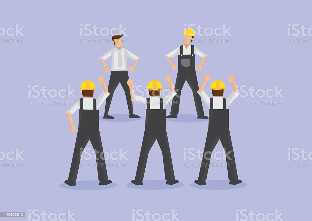 Angry Workers on Strike Vector Illustration vector art illustration
