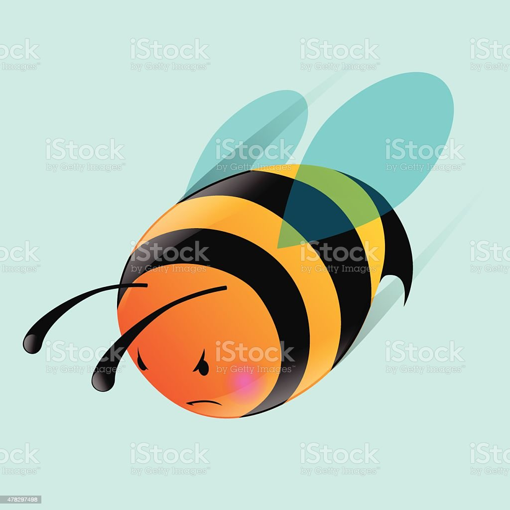 angry-bee vector art illustration