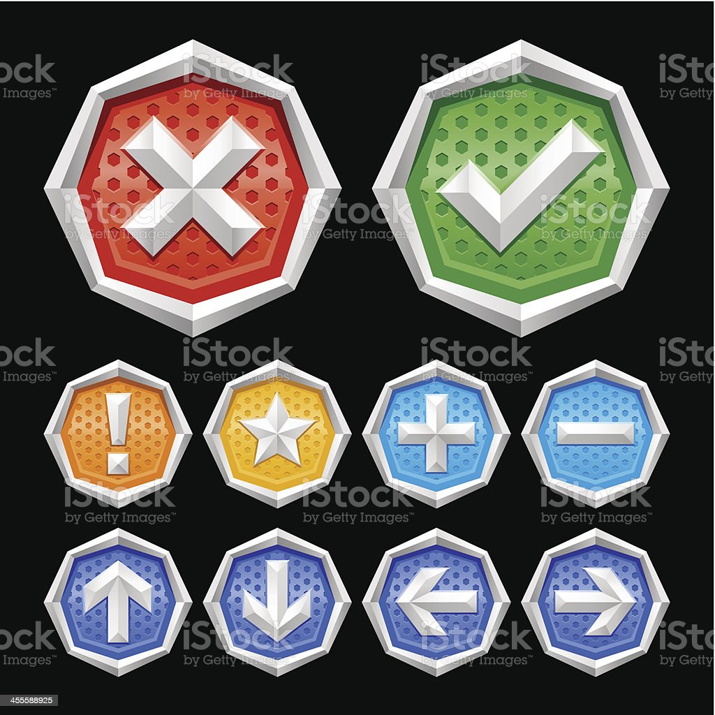 Angular frame buttons with icons royalty-free stock vector art