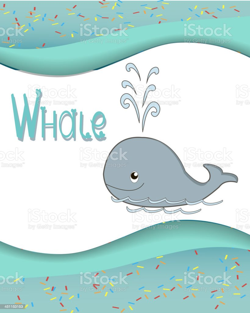 Animal alphabet whale with a colored background royalty-free stock vector art