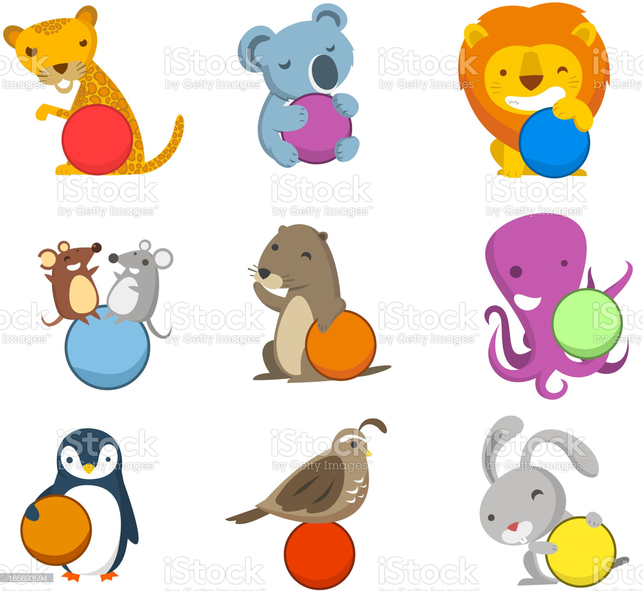 Animal Alphabet with balls to fill in letters numbers symbols royalty-free stock vector art
