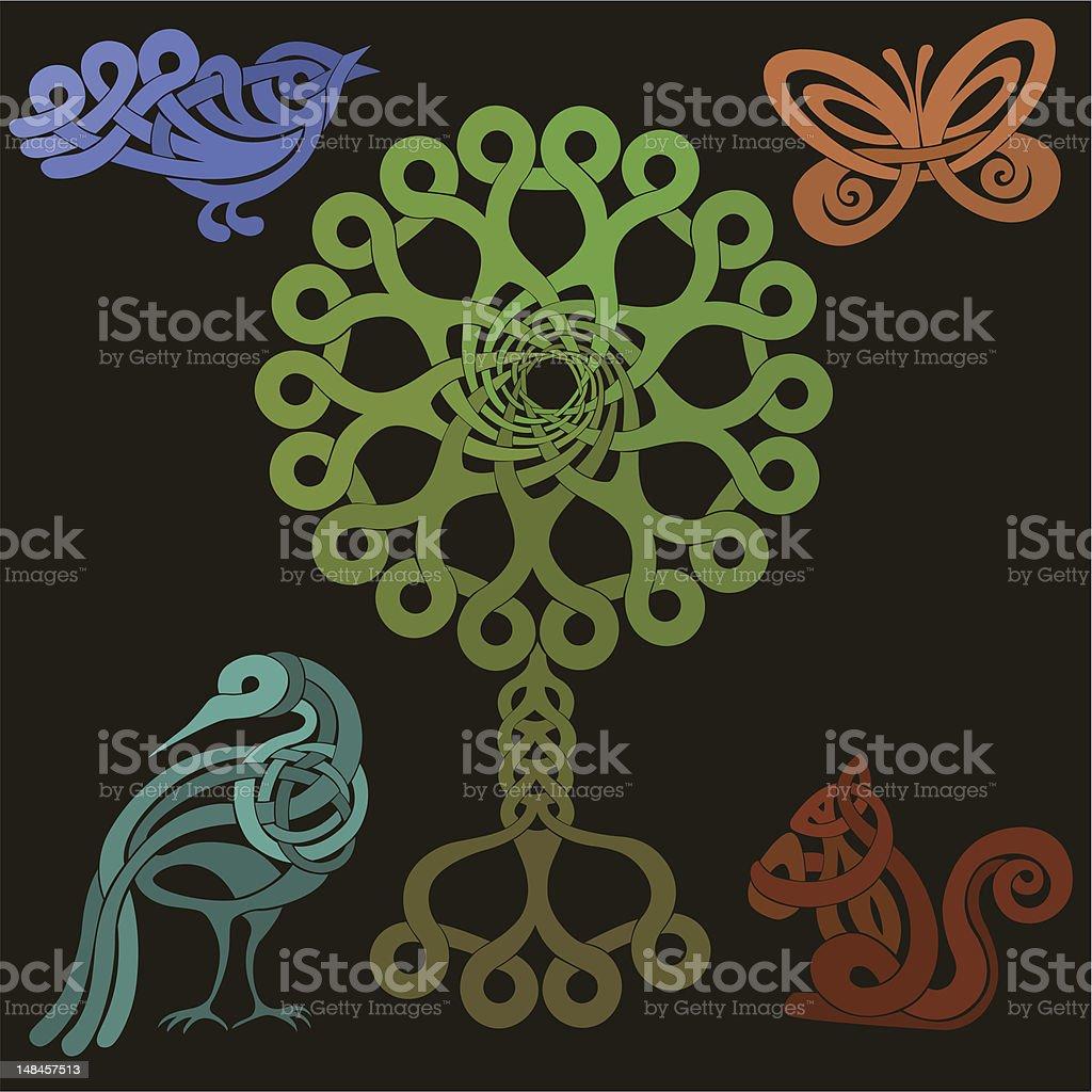 Animal and Tree Celtic knot designs vector art illustration