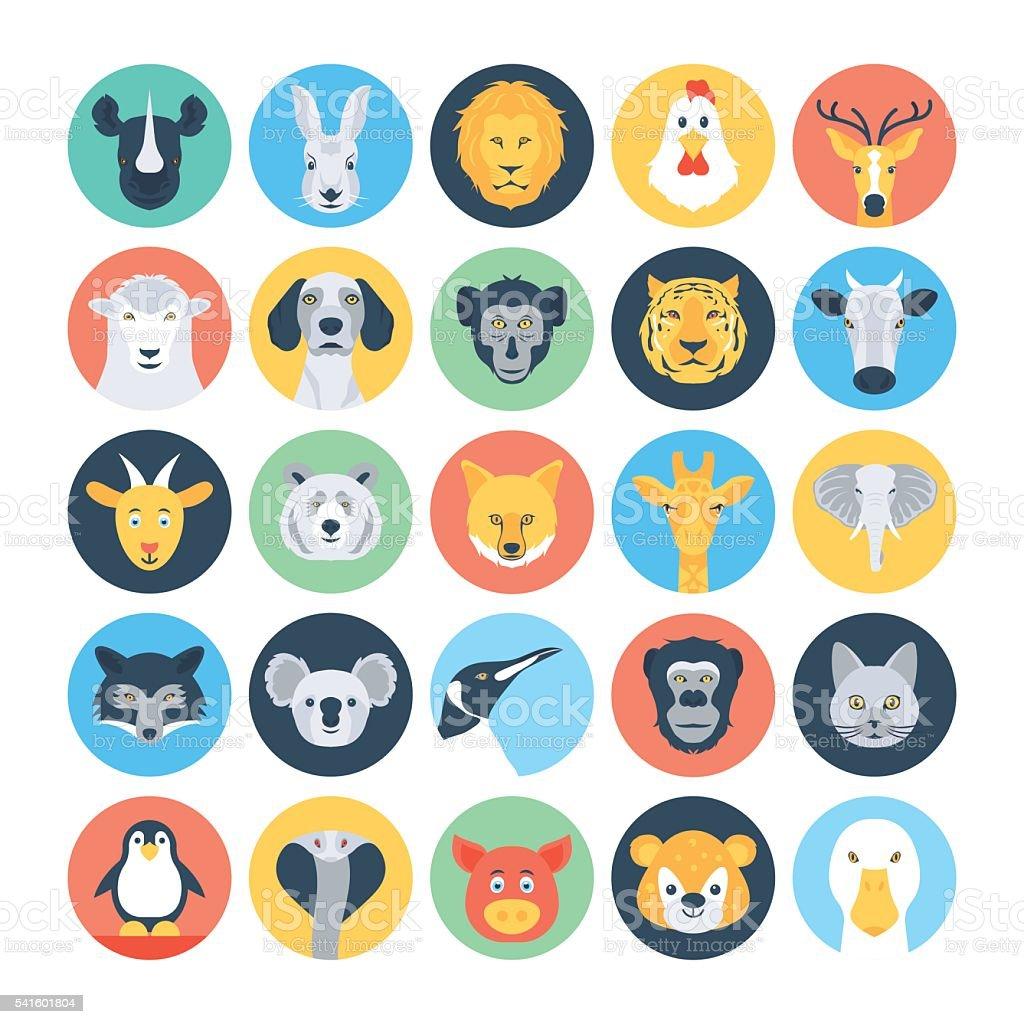 Animal Avatars Flat Vector Icons 1 vector art illustration