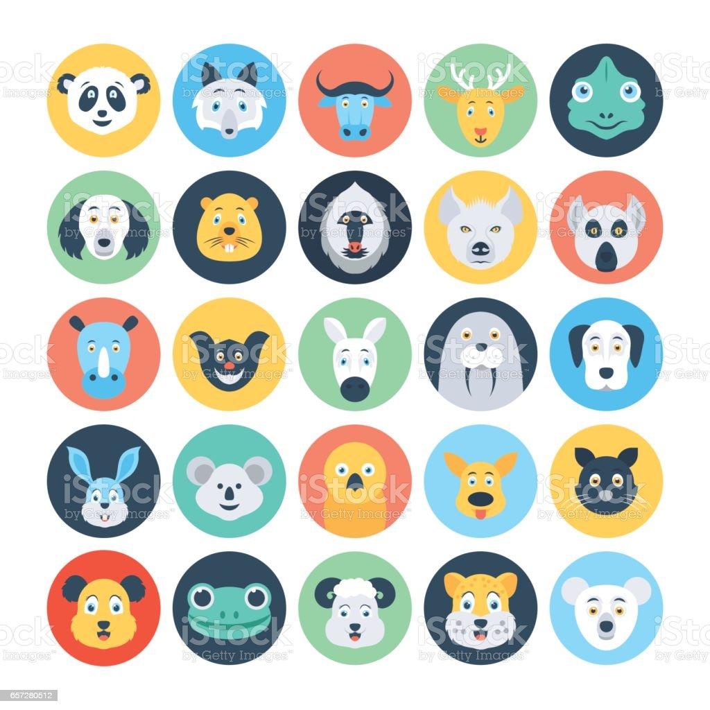 Animal Avatars Flat Vector Icons 4 vector art illustration