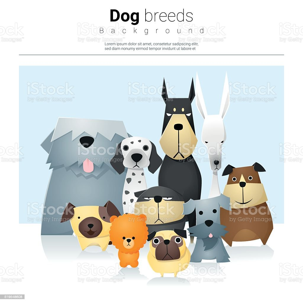 Animal background with dogs 2 vector art illustration