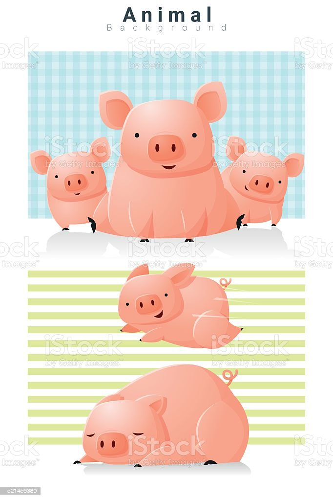 Animal background with Pigs 2 vector art illustration