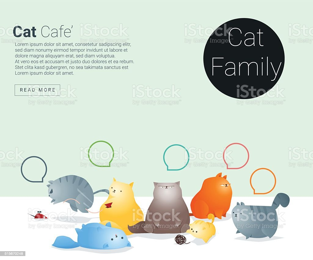Animal banner with Cat story for web design vector art illustration