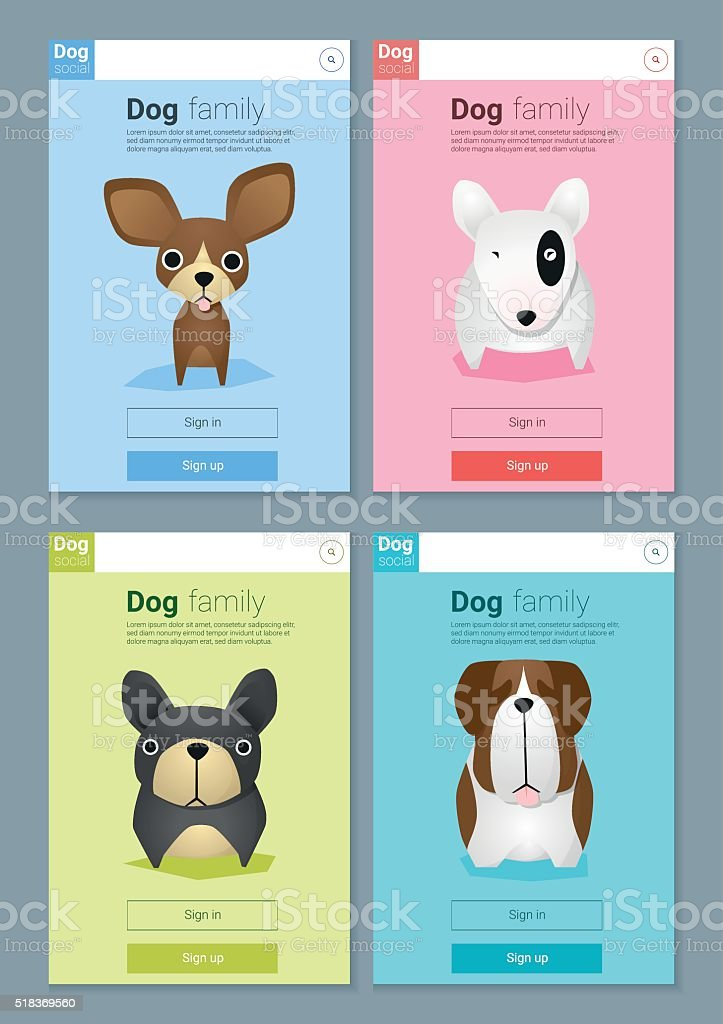 Animal banner with Dogs for web design 5 vector art illustration