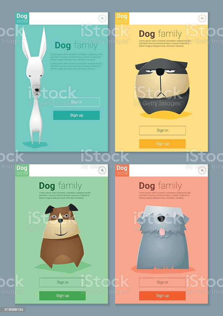 Animal banner with dogs for web design 7 vector art illustration