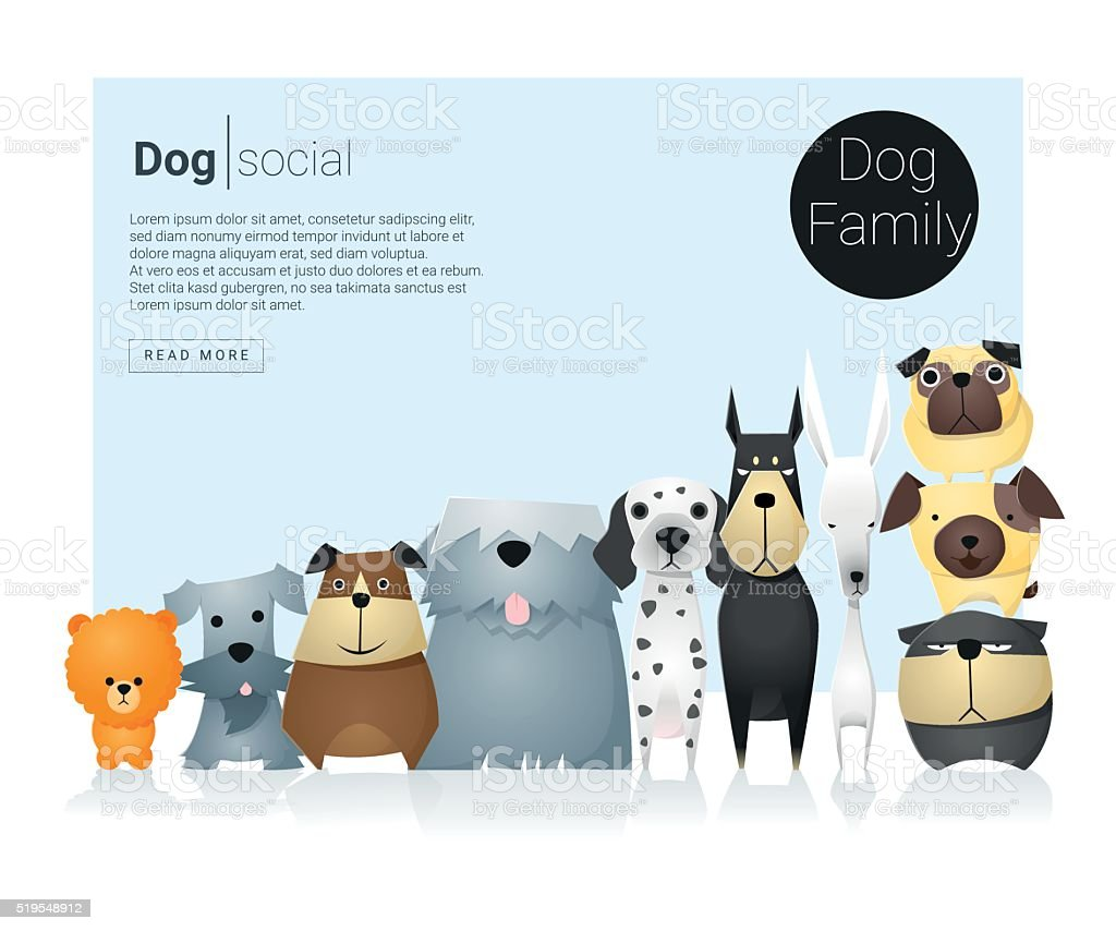 Animal banner with dogs for web design 9 vector art illustration
