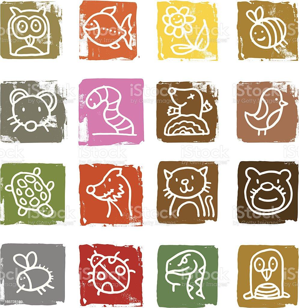 Animal blocks royalty-free stock vector art