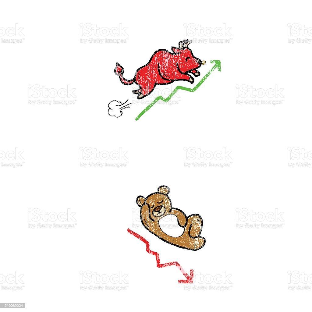 Animal bull and bera stock markt vector art illustration