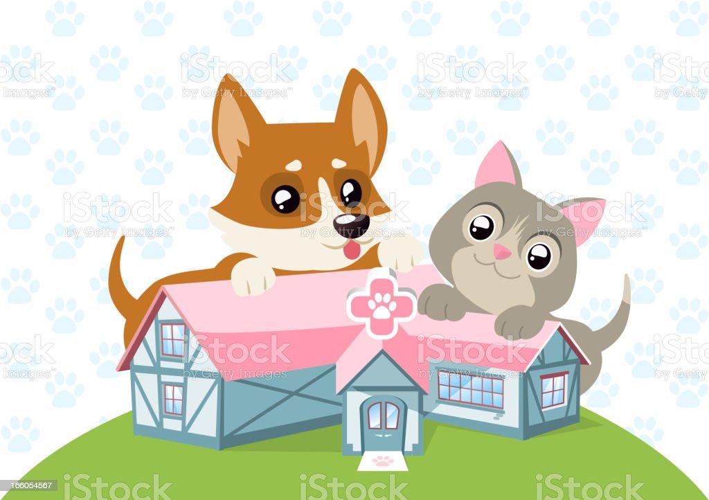Animal Care Hospital Happy Dog and Cat vector art illustration